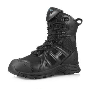 tactical research force full grain leather army combat boot in black