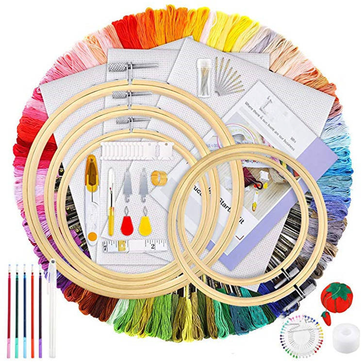 Embroidery Kit for Starter Including Bamboo Embroidery Hoops, Color Threads,Classic Reserve Aida Cross Stitch Tool Kit