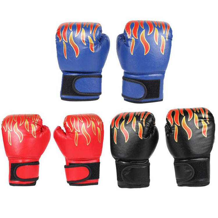 Custom Professional Flame Mesh Breathable Pu Leather Training Kids Children Boxing Gloves
