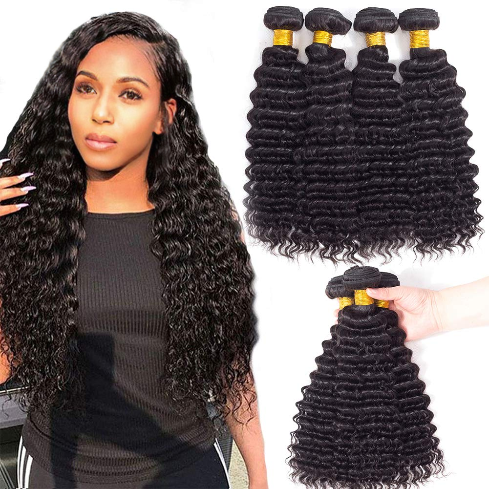 wholesale 8A 10A brazilian straight body kinky curly water deep wave 100% virgin human hair bundles with lace frontal closure
