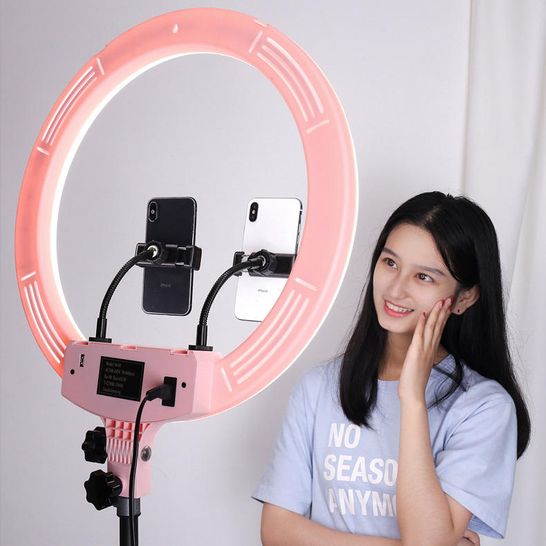 Dimmable 18 inch makeup ring light led circle selfie ring light with cell phone holder tripod stand