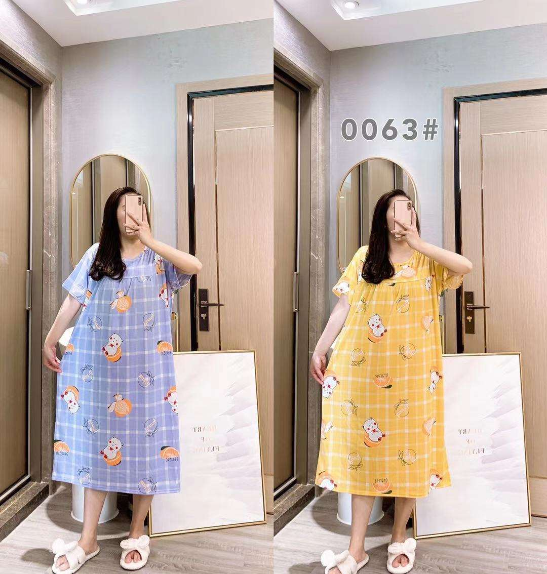 cute pajamas set women pijama mujer summer short night gown nightdress pijamas-por-mayor sleepwear for fat ladies