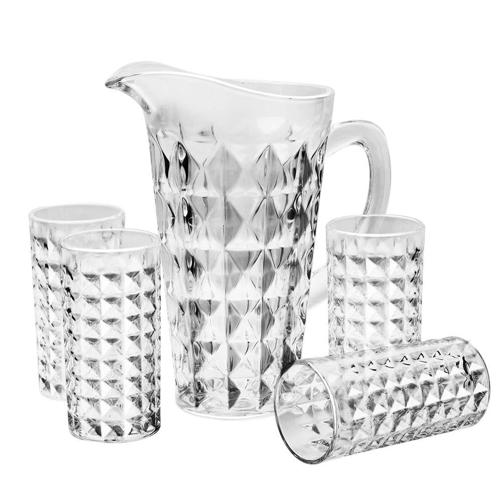 Drinking Glassware Glass Water Jug Set Glass Pitcher With Glass Cup Set