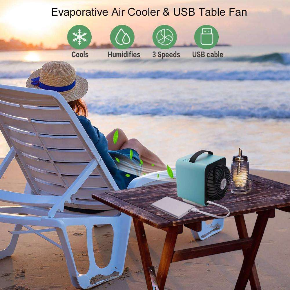 Upgrade Portable Mini Air Cooler Air Conditioner Conditioning LED Light Humidifier Purifies Air Cooling Fan for Home Office