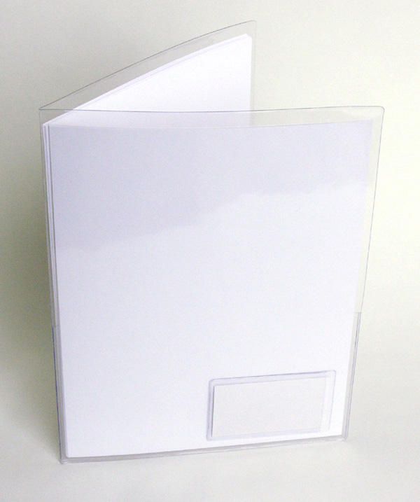 "Clear Plastic SMART Folders w/ Business Card Holder on front - Letter Size - 9"" x 11 3/4"" - P222FR"