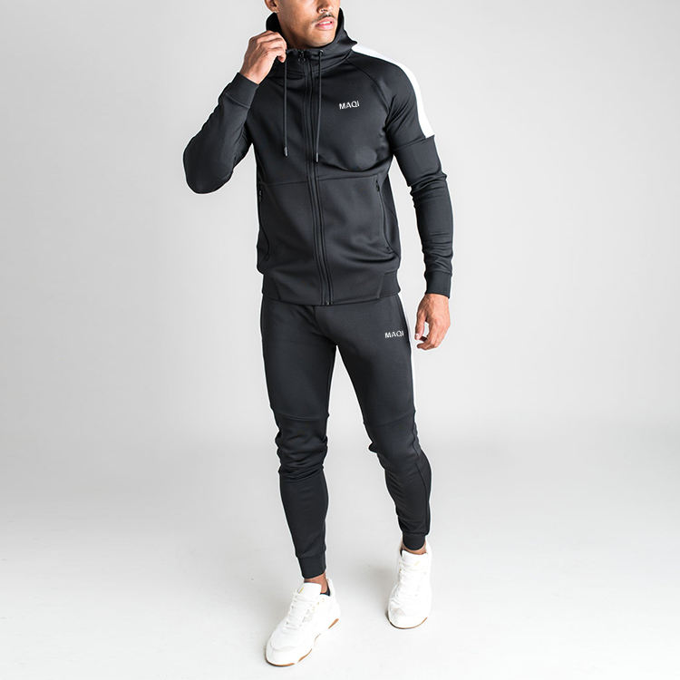Custom logo men running fitness sports wear tracksuit 100% cotton tech fleece track suit