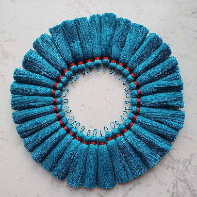 NANA wholesale more than 700 colors 7.0cm mini cotton tassels with loop,blue cotton tassels with red wrap
