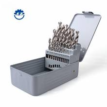 25pcs Din 338 HSS 4241 Roll Forged White Finished Metal Case Straight Shank Drill Bits Set