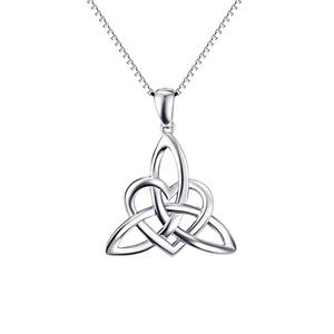 Irish Celtics Knot Pendant Necklace Simple Fashion Jewelry 925 Sterling Silver Magic Wicca Viking Necklace for Female Adjustable