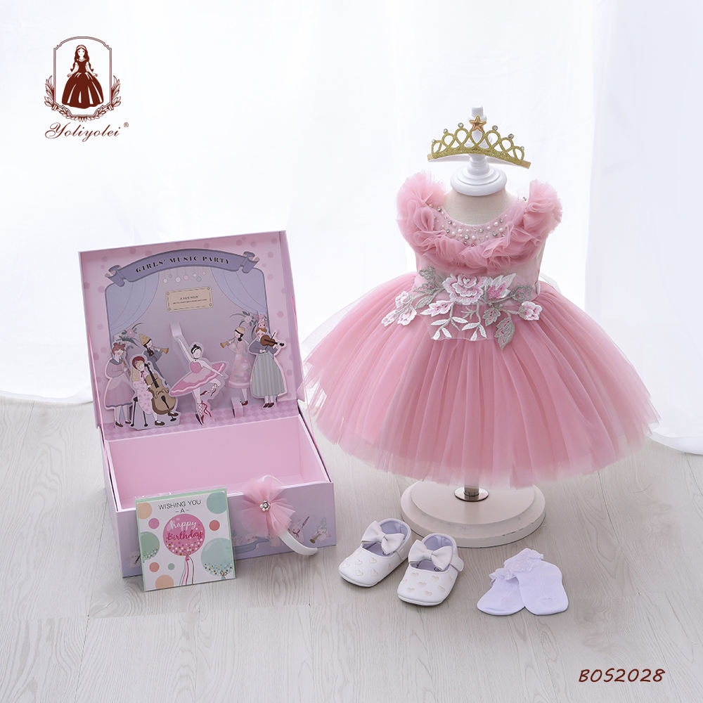 Yoliyolei Summer Pink NewBorn Layered Baby Formal Flower Girl Dress Kid Party Princess Birthday Children Dress With Gift Box
