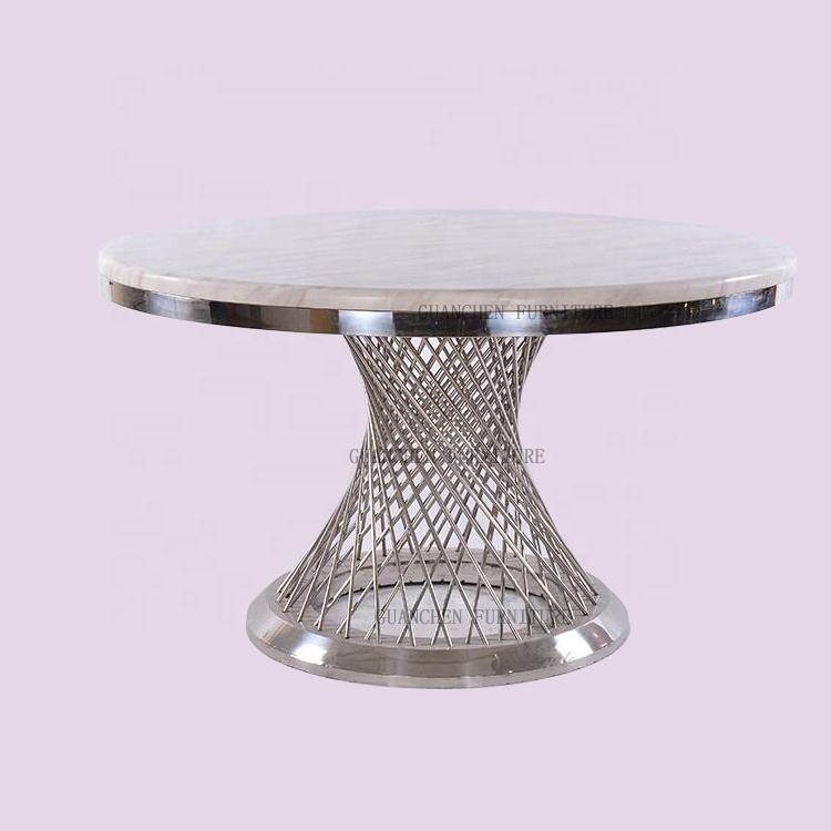 Hot Deal Wedding Table Round Top Quality Gold/silver Stainless Steel Frame Round Dining Wedding Table
