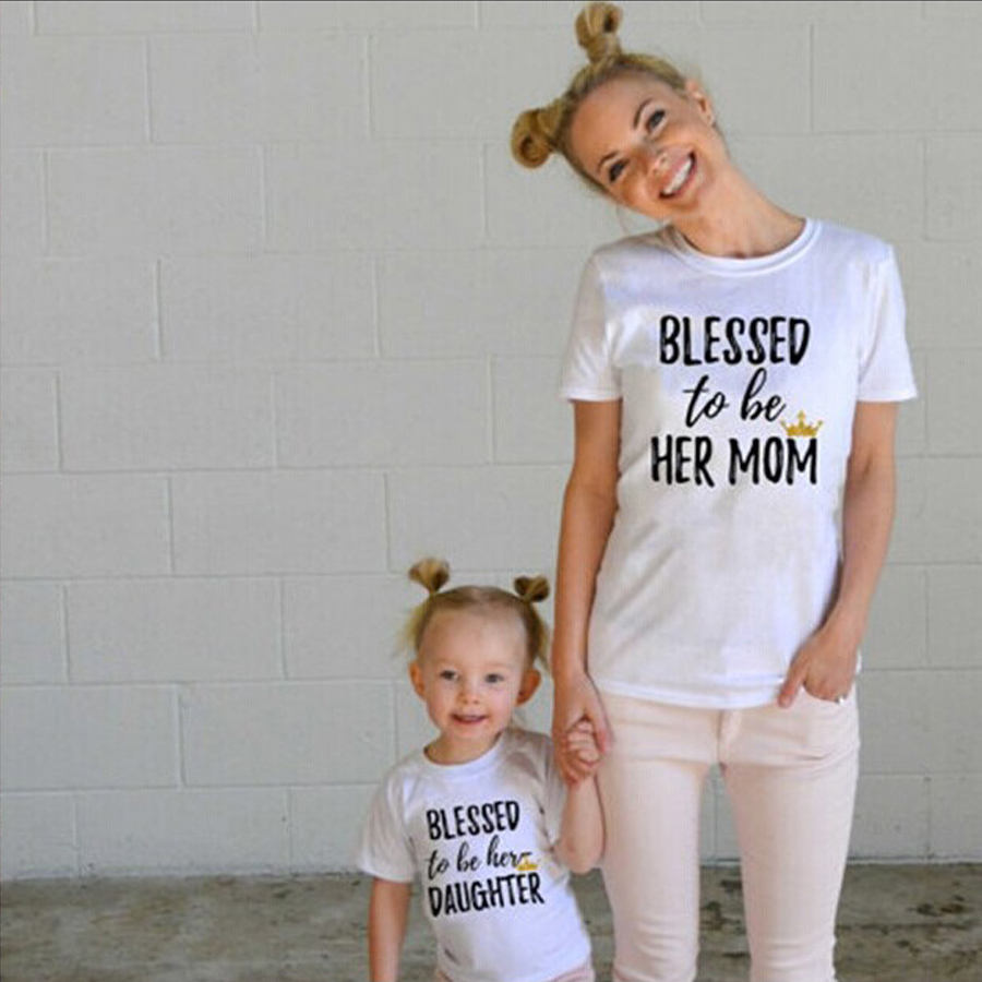 Family Matching Clothing Mommy And Me Outfits Letter Short Sleeve T-shirt Mother And Daughter Clothes