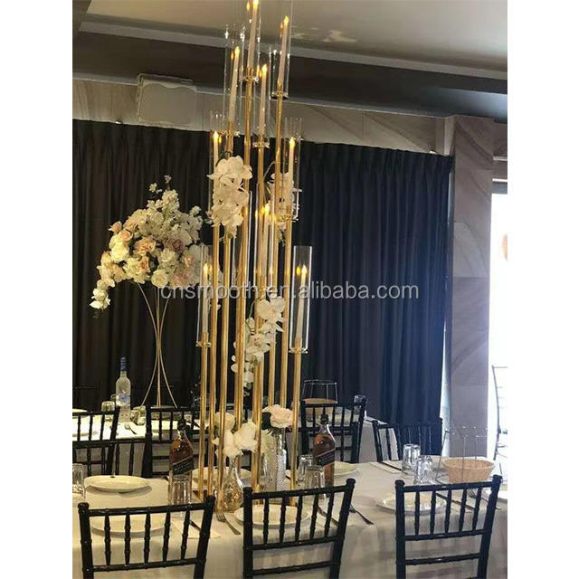 Wedding Geometric Decorating Metal Gold Glass Candle Holder For Home Decor