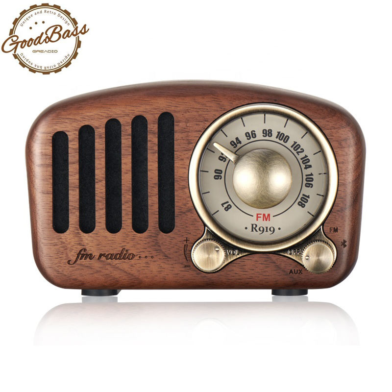 Vintage Radio Retro Bluetooth Speaker- Wooden FM Radio with Old Fashioned Classic Style, Strong Bass Enhancement, TF Card & MP3