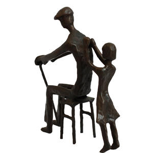 European cast iron metal handicraft bronze sculpture grandfather and grandson family sculpture