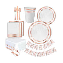 New Design Disposable Rose Gold Paper Dinnerware Set Paper Cup Plate Napkin Birthday Wedding Party Supplies Tableware Sets
