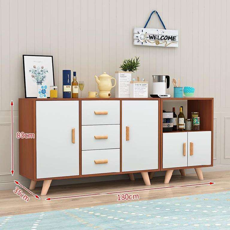 New design cheap Chinese modern MDF particle board wooden kitchen dining room sideboard