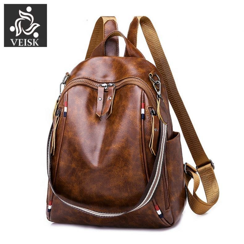 Women Backpack School 2019 Quality Vintage Leather Female Teens Rucksack multi-functional Fashion Ladies Leisure Travel Bagpack
