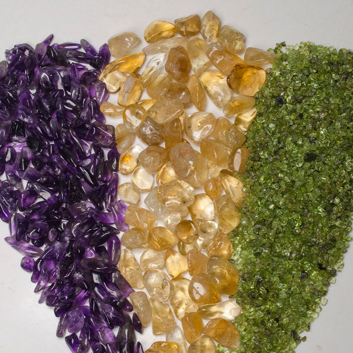 Polished Aquamarine Citrine Amethyst Rhodochrosite Mixed Gravel Tumbled Natural Crystal Quartz Loose Crushed Gemstone