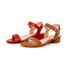 High Quality Fashion Women One Band Block Heel Sandal Leather Upper Sandals With 2.8Cm Abs Heel
