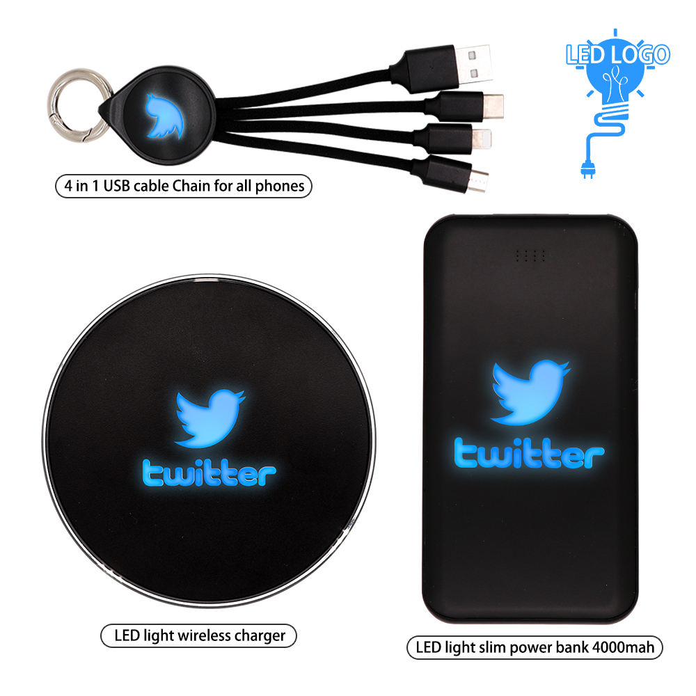 2020 New Trend Business Gift Set Power Bank Wireless Charger USB cable Custom Logo for Promotion gift