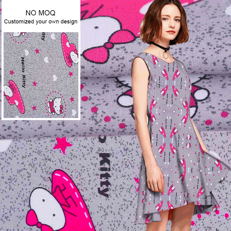 NO MOQ Custom digital printing cotton spandex Lycra fabric and cotton interlock knit fabric with your own design
