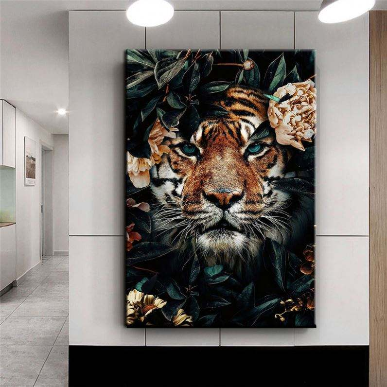 Home Wall Art Canvas Animal Decoration Oil Painting 1 Board In Bedroom Living Room Tiger Printed Modular Picture