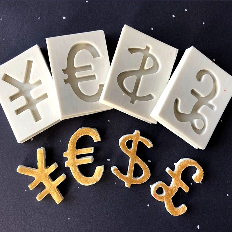 US Dollar Euro Yuan Pound Sterling Symbol Silicone Fondant Mould DIY Soft Clay Epoxy Molding Tool