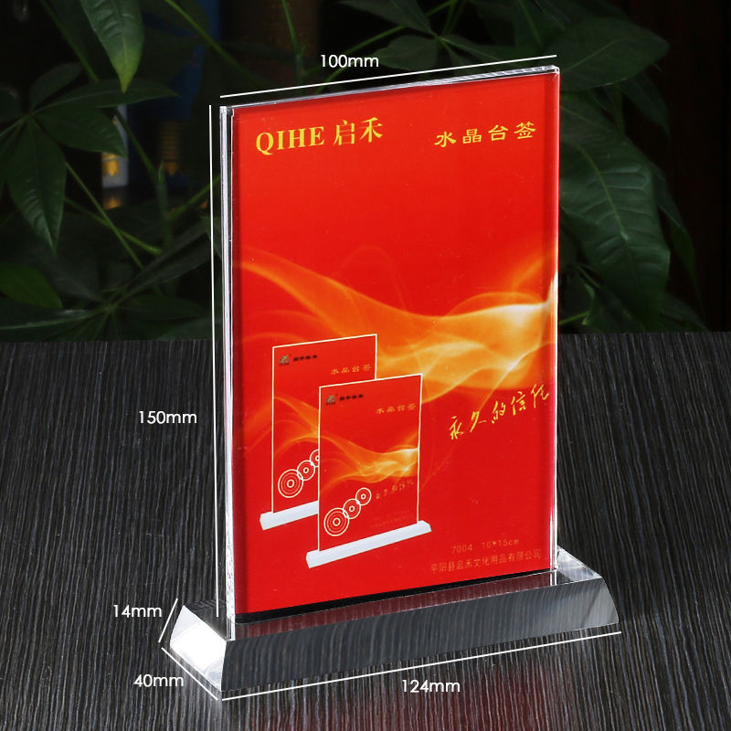 Display Stand Triangle Menu Restaurant Floor Acrylic Table Top Sign Holder