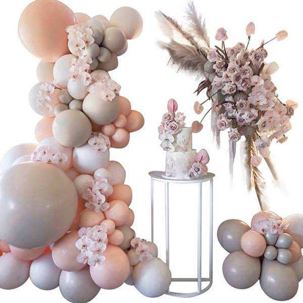 105pcs Balloon Arch Garland Kit Macaron Peach Grey Pastel Balloons Party Decor Birthday Wedding Baby Shower Party Supplies