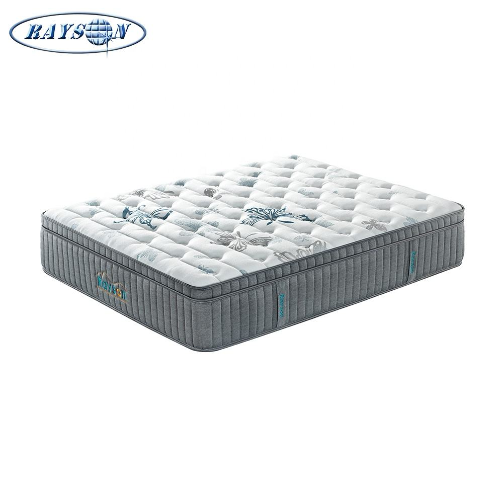 RAYSON euro top queen size spring natural latex mattress medium firm Pocket Spring Orthopedic Latex Hotel Mattress