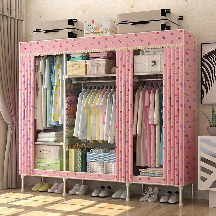 Free Sample Baby Clothes Large Cabinet Portable Glass Accessories Shoes Cheap Plastic Non-Woven Folding Wardrobe For Suiting