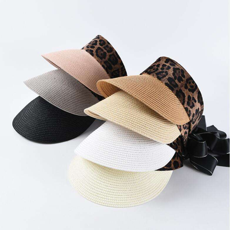 Sommer frauen Anti UV strand stroh hut leopard bogen einstellbare fashion visor cap