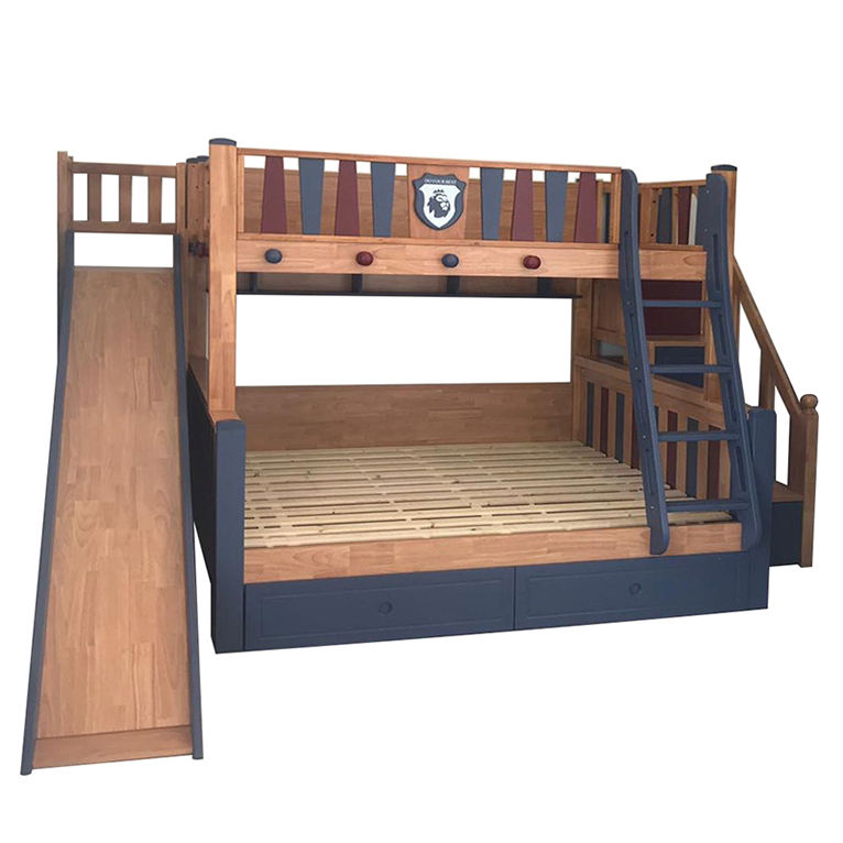 High Quality Solid Wood Bunk Bed Twin Over Full Bunk Bed Ladder And Slide Bedroom Furniture