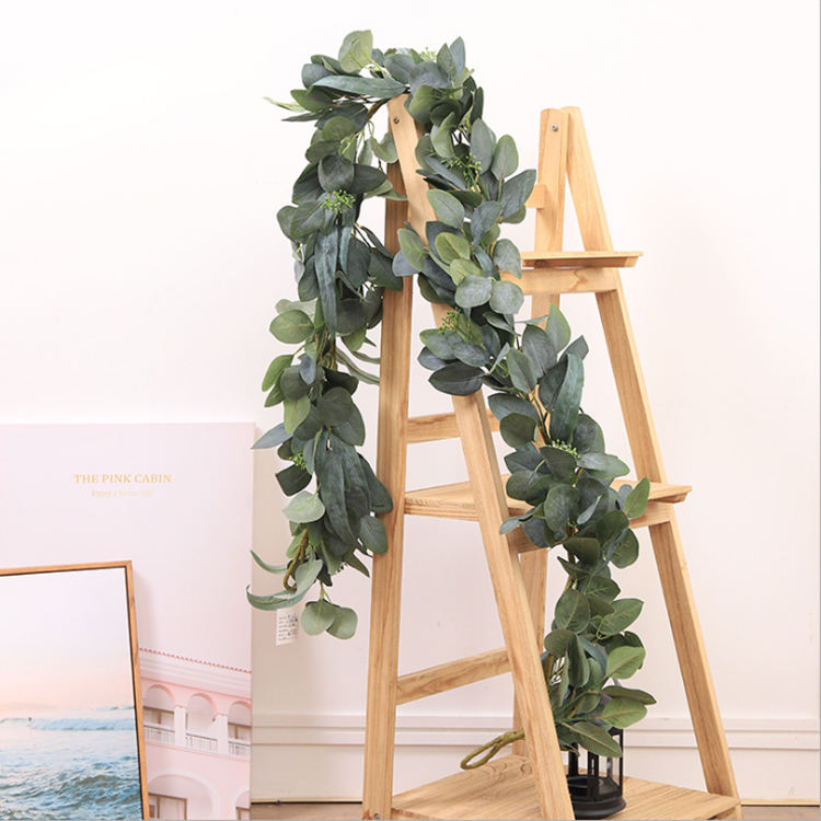 Artificial Vines Faux Silk Leaves Wreath Eucalyptus Greenery Garlands for Wedding Backdrop Arch Wall Decor