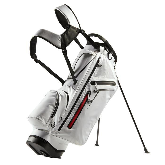 White Polyester Water Resistant Golf Stand Bag with 6 Way Top Divider