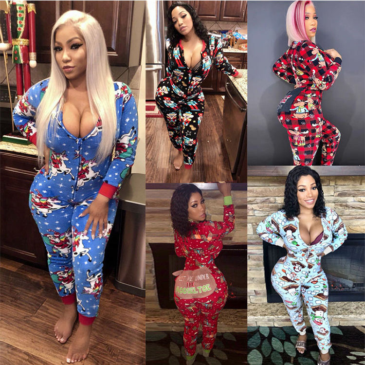 New Arrival Sexy Bodycon Christmas Funny Print One piece Jumpsuit Women Clothing 2019 Zipper Jumpsuit Romper