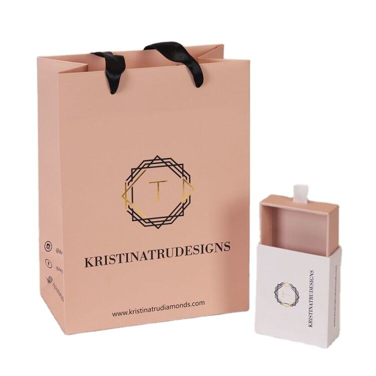 Custom Logo small Light Pink high end jewelry paper gift bags with silk handles