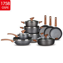 Hot Selling Wholesale Forged Aluminium Black Kitchen Non Stick Pot Cookware Set