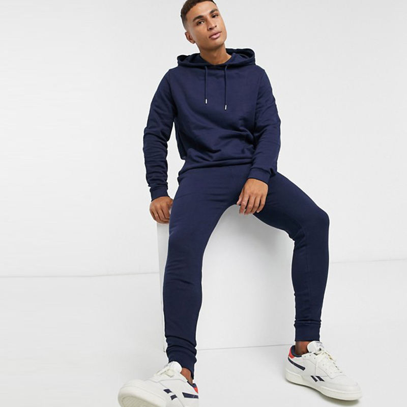 Breathable Soft 100% Cotton Blank Navy Sport Gym Sweat Suit Jogging Men Track Suits Tracksuits