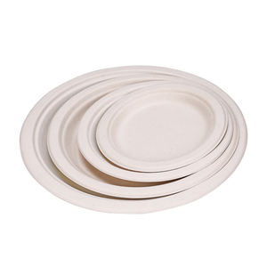 Eco-friendly Disposable Biodegradable Sugarcane Pulp Bagasse Tableware 9 inch Round Plate
