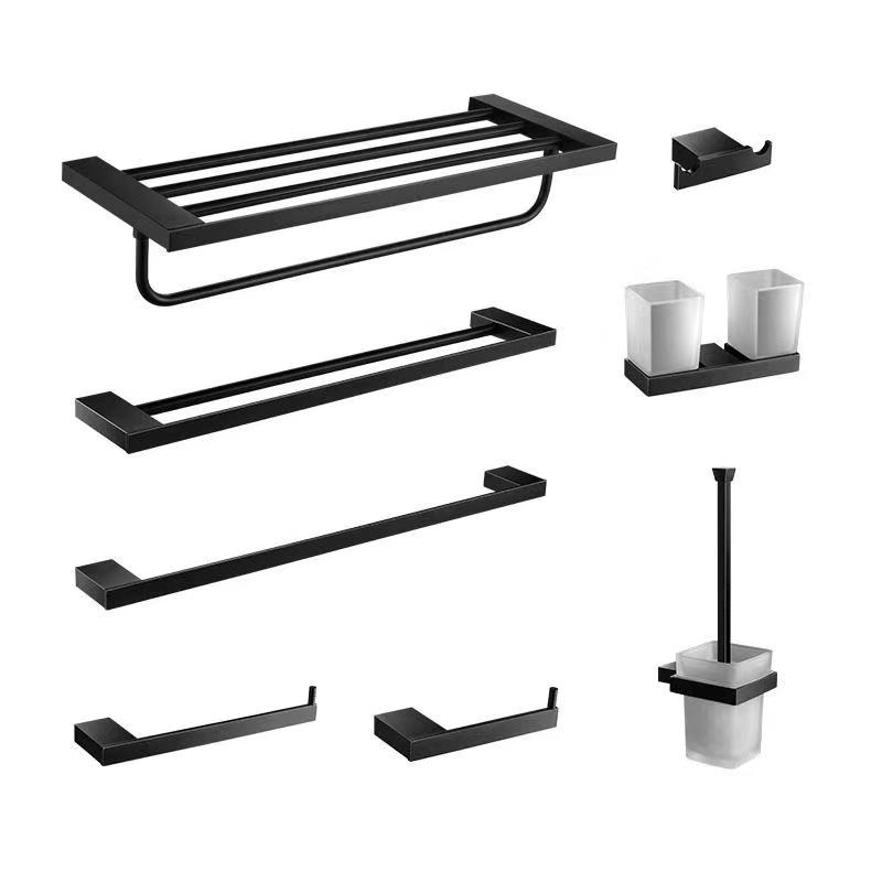 Complete 304 Stainless Steel Bath Hardware Sets Black Bathroom Accessories Set