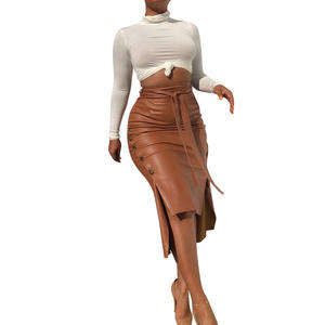 Brown Elegant Split Hem Front Double Button Belted Leather Look Long Skirt Office Lady Solid Workwear Maxi Skirts