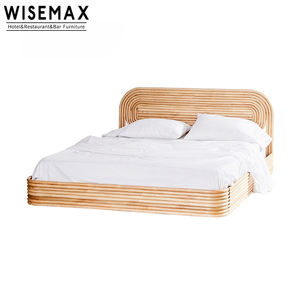 Latest Wooden Bed Designs Hotel Home Rattan Bedroom Furniture King Size Wooden Double Bed