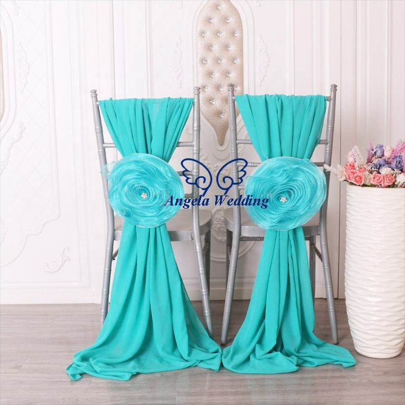 SH096A wholesale wedding outdoor blue chiffon chair sash hood with flower