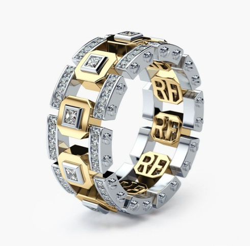 Gold and Silver Mix Color Two Tone Gold Rings Fashion Design Modern Jewelry New Lady Accessory Ring