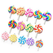 Custom Wholesale Mixed Colorful 3D Designs Resin Candy lollipop Pendant Charms for diy designer bracelet jewelry making