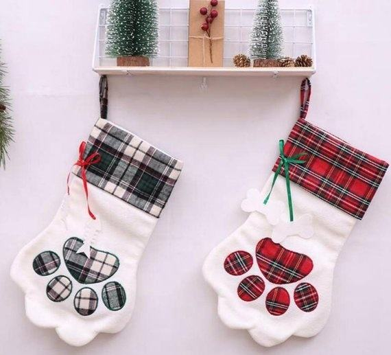 Wholesale Monogram Sherpa Plaid Dog Stockings Dog Paw Christmas Stocking