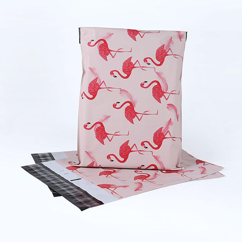 Custom logo printed Pink flamingo designer poly mailers clothes shipping packaging bag envelopes mailing plastic dhl courier bag