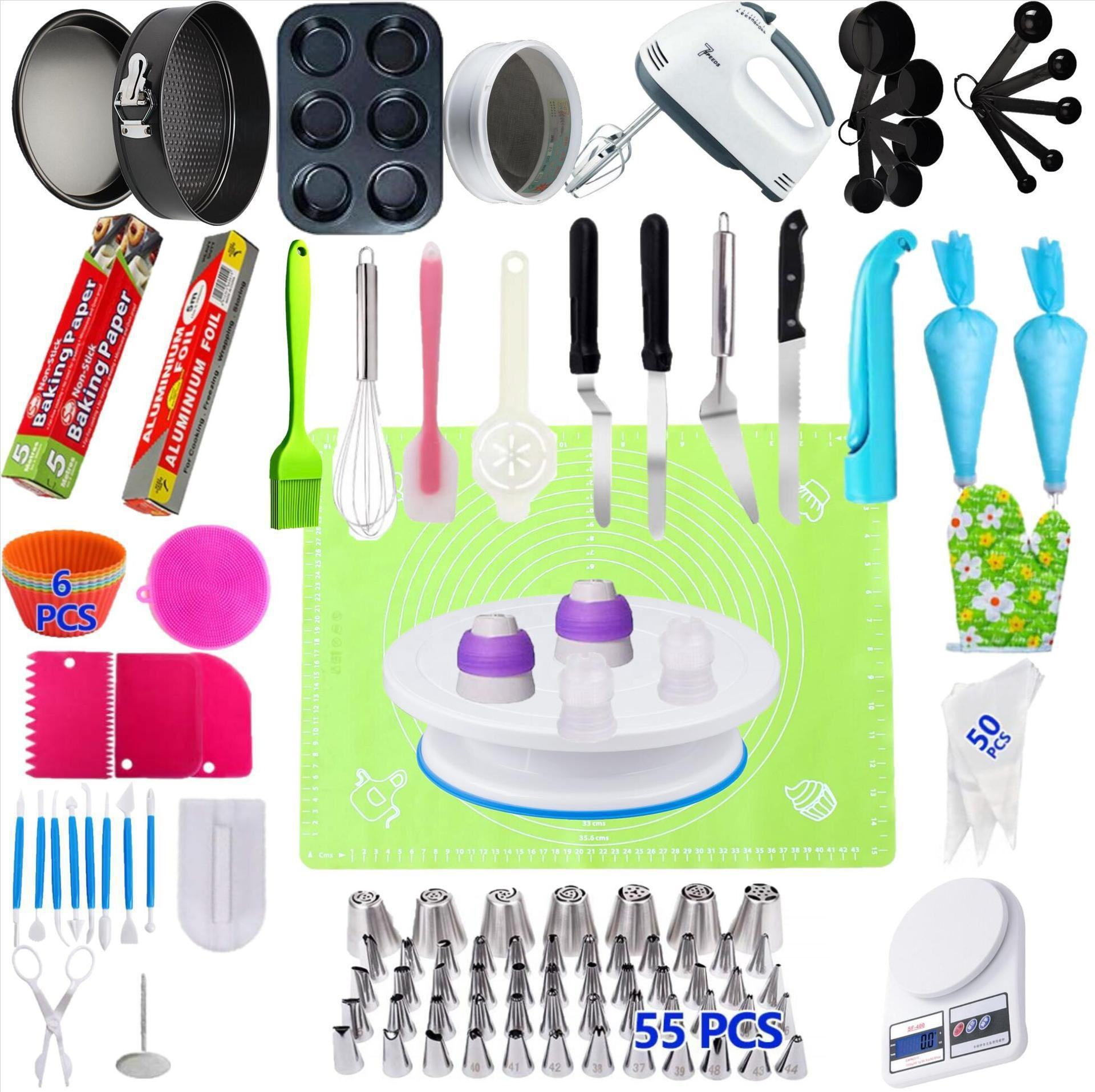 Wilton 224 PCS Complete Cake Decoration Kit Baking Supplies Cake Stand Turntable Pan Mold Piping Tips Cake Decorating Tools Set